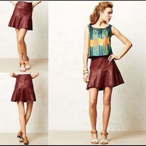 HD in Paris maroon faux leather skirt size 0